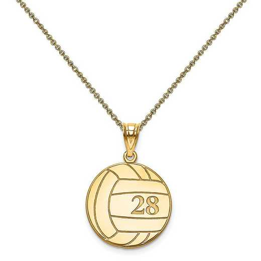 XNA696Y-PEN53-18: 14 Karat Laser Volleyball Number And Name Pendant