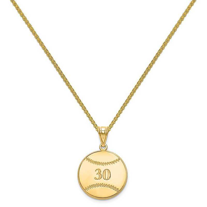XNA697GP-QSP035G-18: Gold Plated/SS Laser Baseball Number And Name Pendant