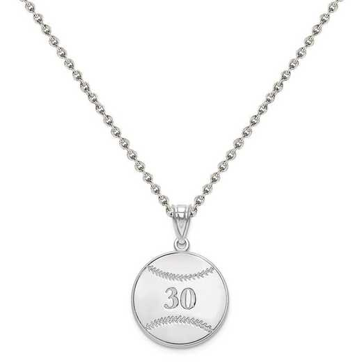 XNA697SS-QCL050R-18: SS Rhodium-plated Laser Baseball Number And Name Pendant