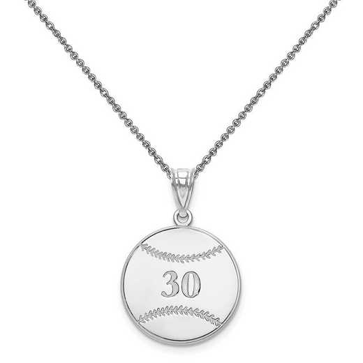 XNA697W-PEN74-18: 14 Karat White Gold Laser Baseball Number And Name Pendant