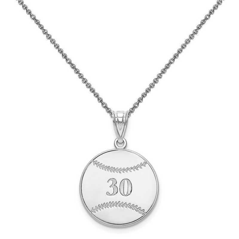 XNA697W-PEN74-18: 14 Karat White Gold Laser Baseball Number And Name Pendant