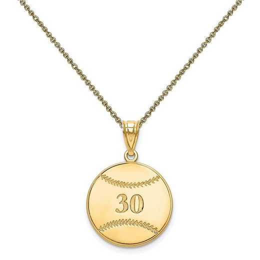 XNA697Y-PEN53-18: 14 Karat Laser Baseball Number And Name Pendant
