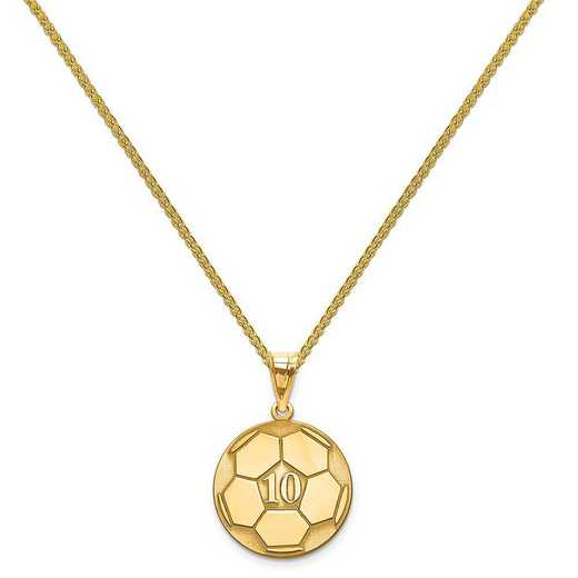 XNA698GP-QSP035G-18: Gold Plated/SS Laser Soccer Number And Name Pendant