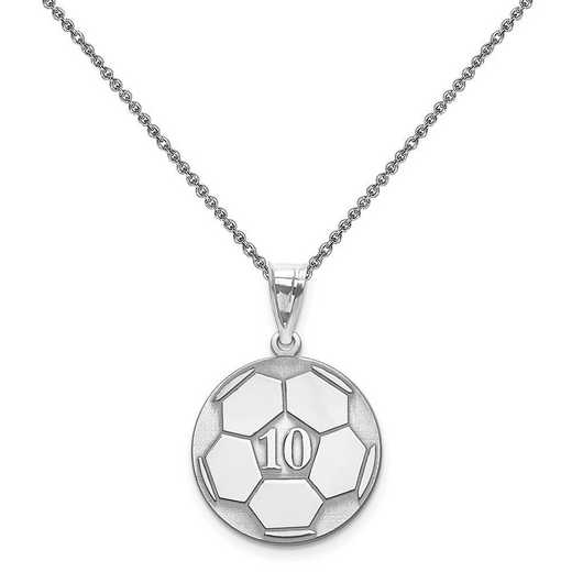 XNA698W-PEN74-18: 14 Karat White Gold Laser Soccer Number And Name Pendant