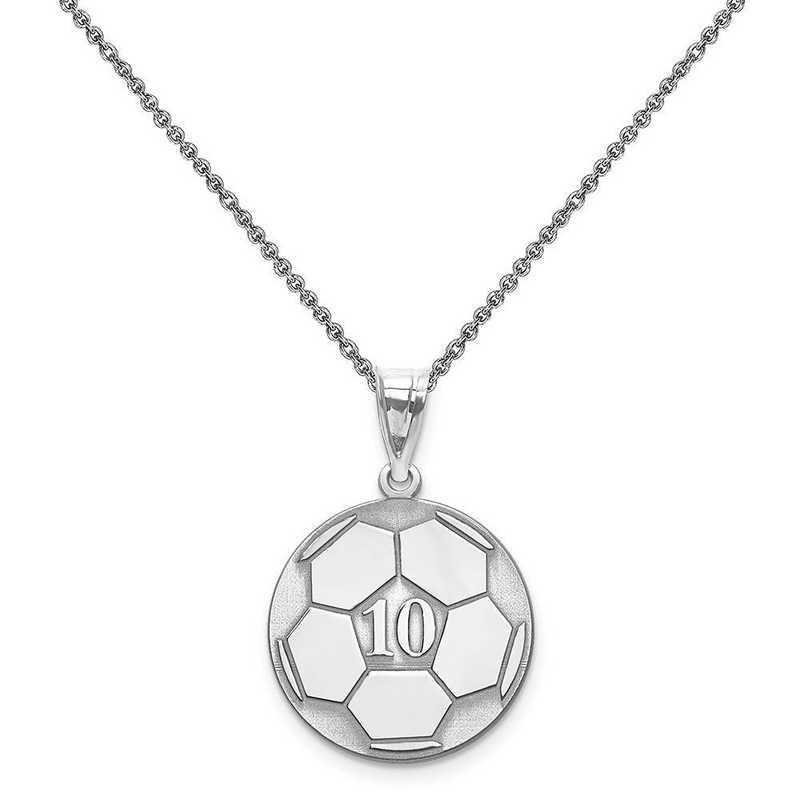 XNA698W-PEN74-18: 14 Karat White Gold Laser Soccer Number And Name Pendant