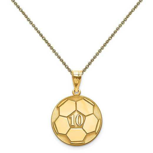 XNA698Y-PEN53-18: 14 Karat Laser Soccer Number And Name Pendant