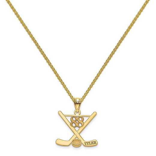 XNA703GP-QSP035G-18: GP Laser Polished Name And Number Hockey Pendant