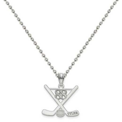 XNA703SS-QCL050R-18: SS Rh-plt Laser Polished Name And Number Hockey Pendant