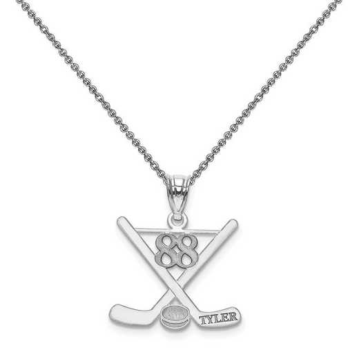 XNA703W-PEN74-18: 14k White Gold Laser Polished Name And Number Hockey Pendant