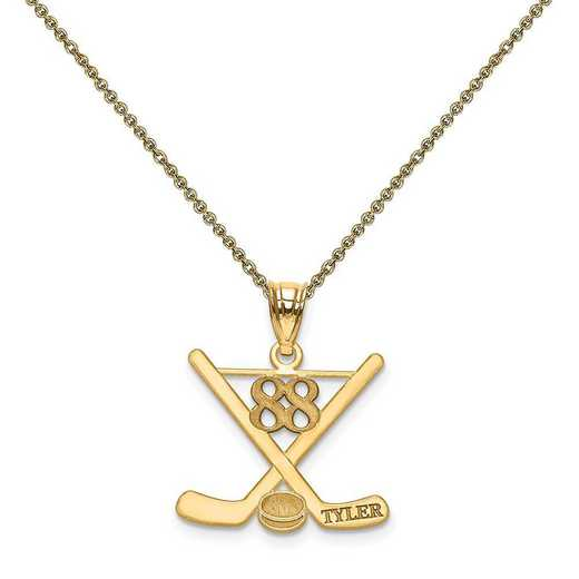 XNA703Y-PEN53-18: 14k Laser Polished Name And Number Hockey Pendant