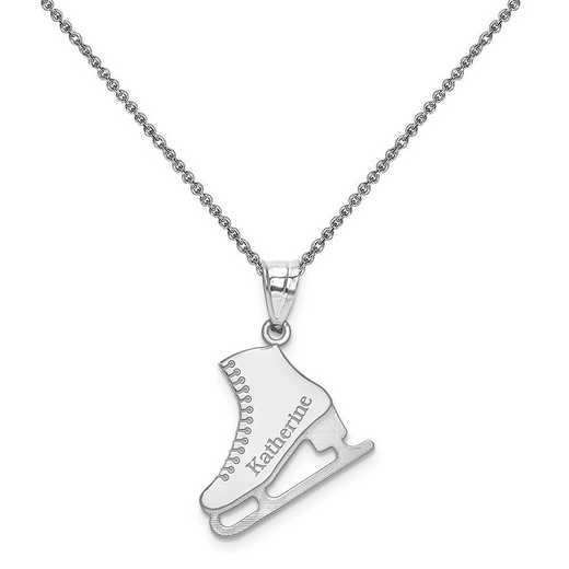 XNA705W-PEN74-18: 14kw Laser Polished Name Ice Skating Charm
