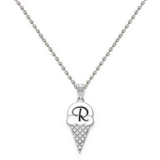 XNA843SS-QCL050R-18: Sterling Silver Rhodium-plated Epoxied Letter Ice Cream Cone