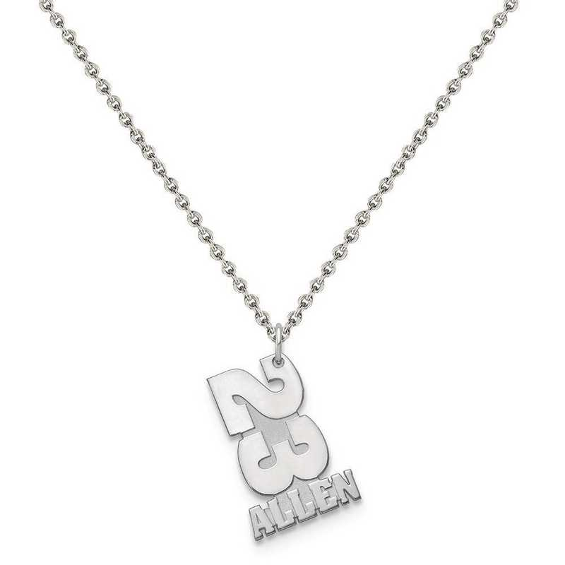 XNA869SS-QCL050R-18: Sterling Silver Rhodium-plated Stacked Number and Name Charm