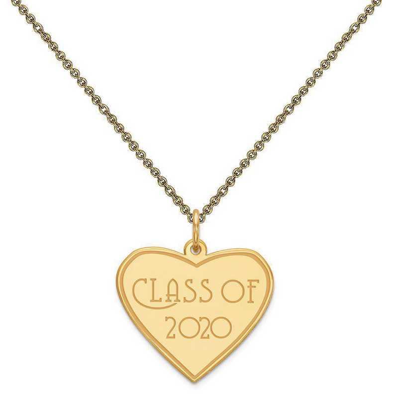 YC1306-PEN53-18: 14k Yellow Gold Class of 2020 Heart Charm