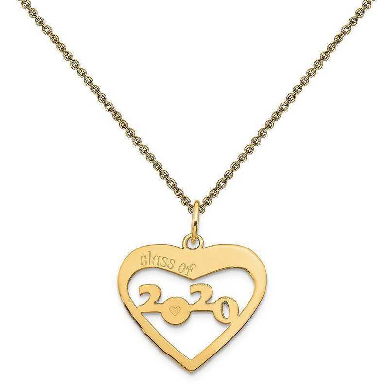 YC1308-PEN53-18: 14k Yellow Gold Class of 2020 Heart Cut Out