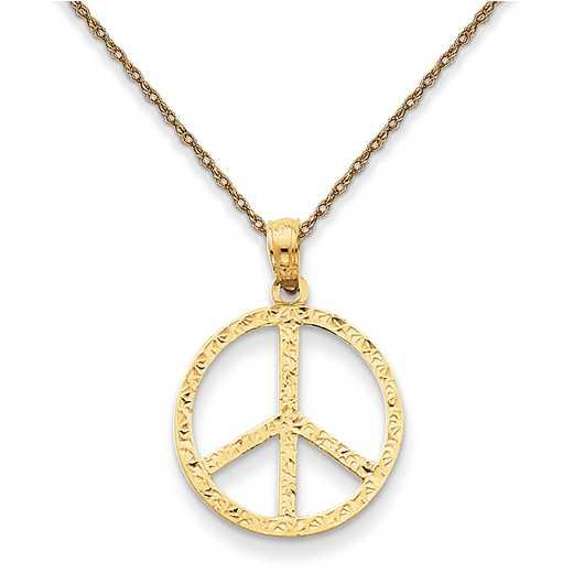 C30535RY-18: 14K YG Peace Sign Pendant Necklace