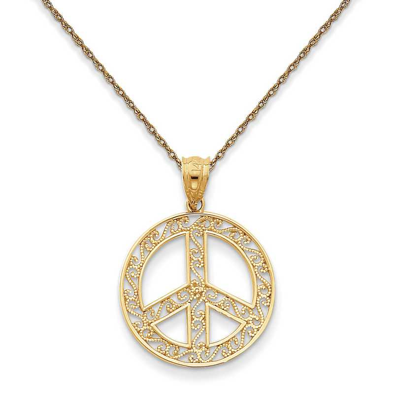 K4105/5RY-18: 14K YG Filigree Peace Sign Pendant Necklace