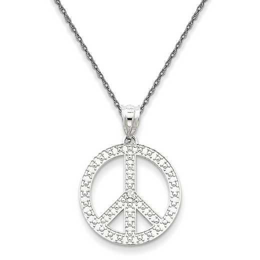 K4106/5RW-18: 14K White Peace Symbol Pendant Necklace