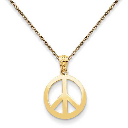 YC815/5RY-18: 14K YG Polished Peace Sign Circle Pendant Necklace