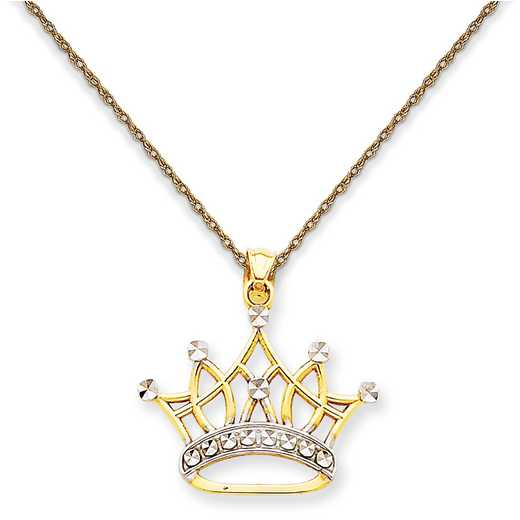 K2746/5RY-18: 14K YG and Rhodium Crown Pendant Necklace