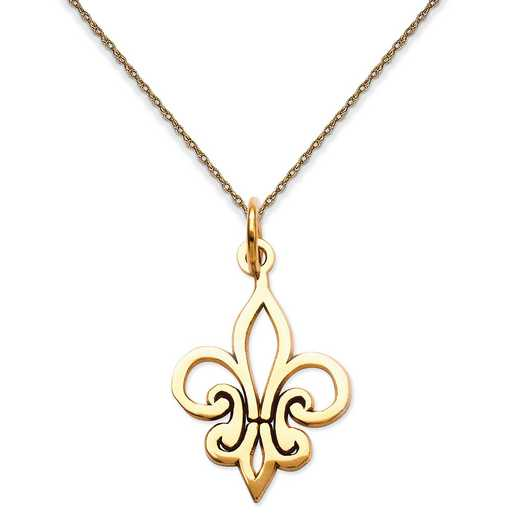 K2756/5RY-18: 14K YG Outlined Fleur De Lis Pendant Necklace Necklace