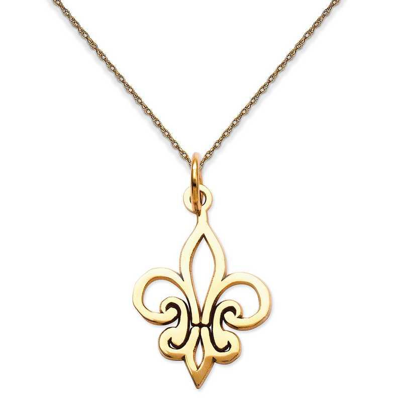 K2756/5RY-18: 14K YG Outlined Fleur De Lis Pendant Necklace Necklace