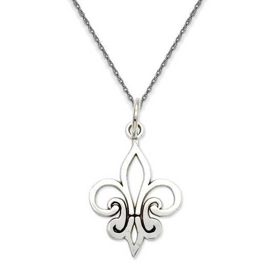 K2757/5RW-18: 14K WG Outlined Fleur De Lei Pendant Necklace Necklace