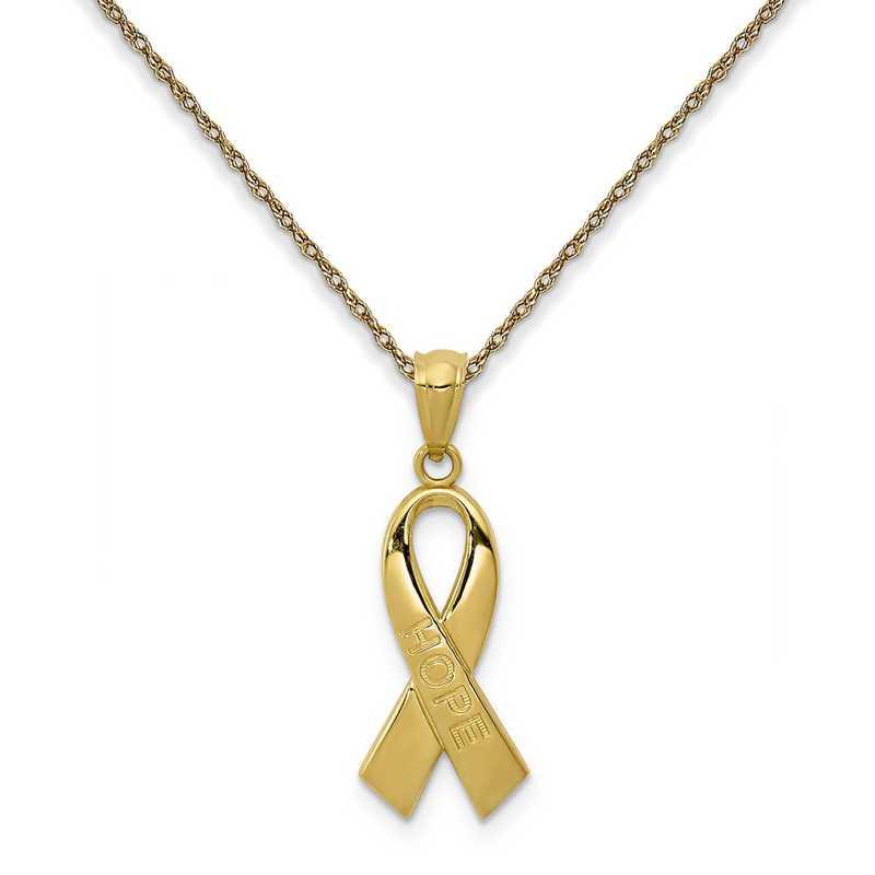 YC1232/5RY-18: 14K YG Polished Hope Ribbon Pendant Necklace