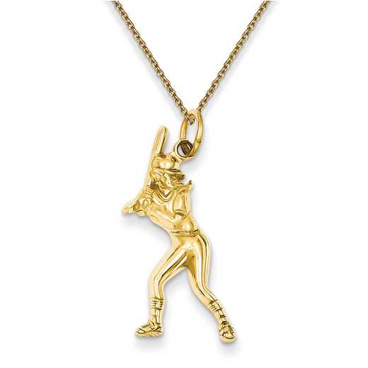 D3476/PEN136-18: 14k YG Female Baseball Batter Charm