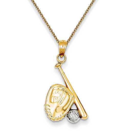 K4947/PEN136-18: 14k YG/Rhodium Baseball, Bat, & Glove Pendant""