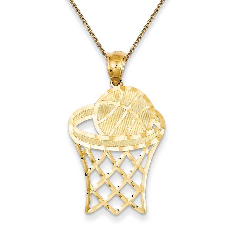 C3584PEN136-18: 14k YG Basketball in Hoop Diamond Cut Pendant