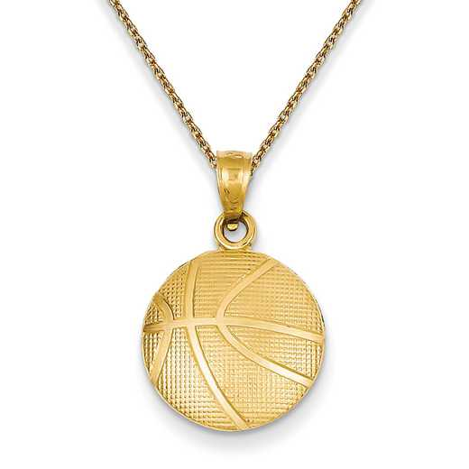 C3774PEN136-18: 14k YG Textured Basketball Pendant