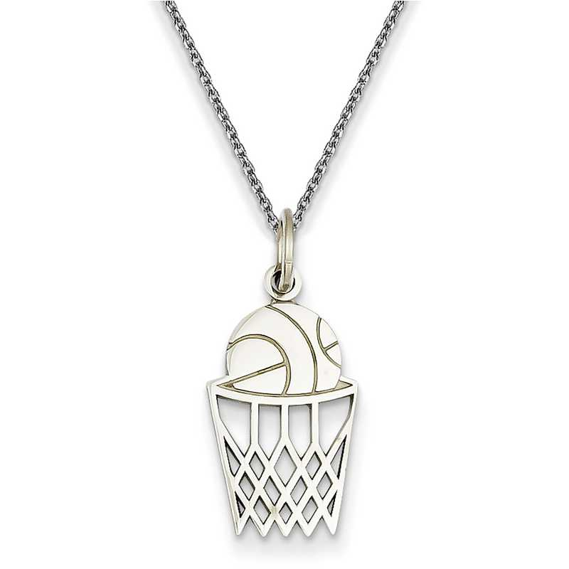 WCH136/PEN145-18: 14k WG Casted Basketball Charm