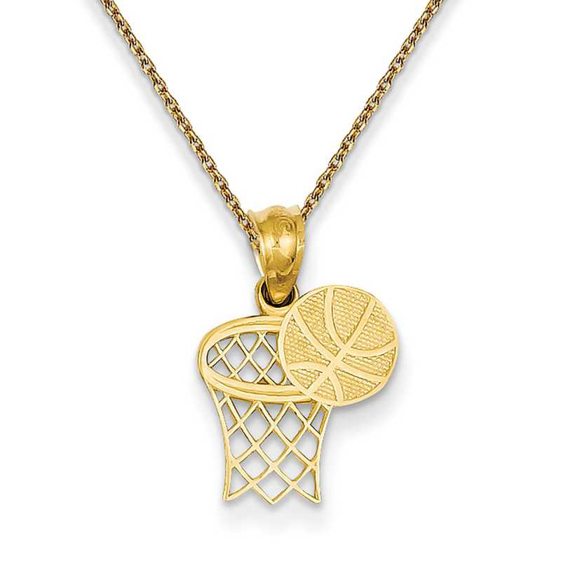 14k Yellow Gold Polished Textured back Basketball Hoop and Ball Pendant Necklace Measures 18.4x12.5mm Jewelry Gifts for Women