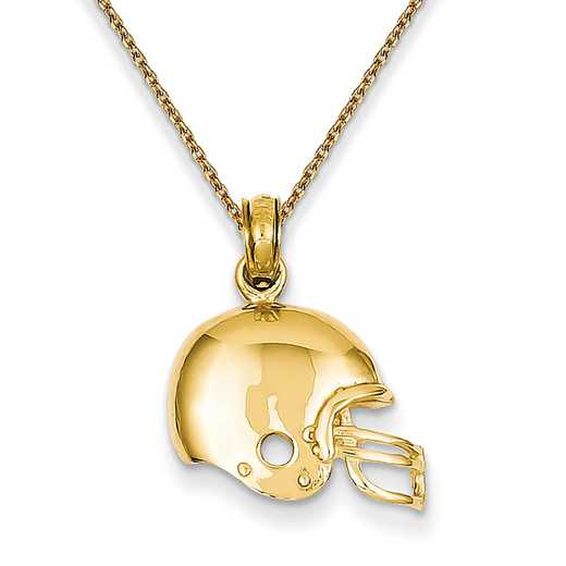 K3604/PEN136-18: 14k YG Polished Football Helmet Pendant