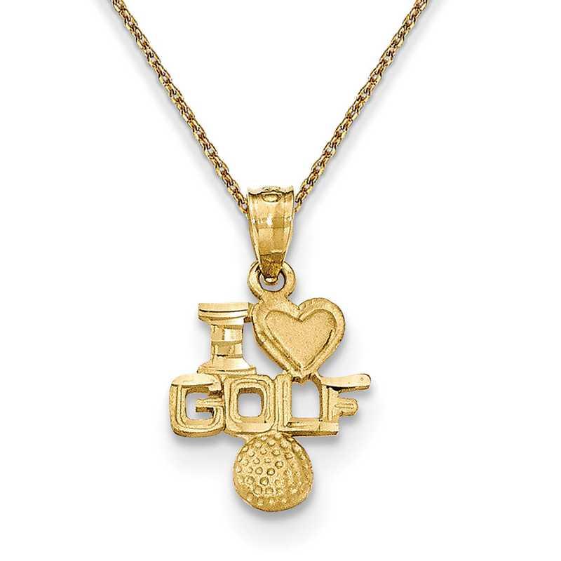 K5441/PEN136-18: 14k YG Satin & D/C I Heart Golf Pendant