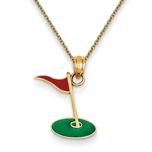 YC1007PEN136-18: 14k YG Enameled Golf Flag on Green Charm