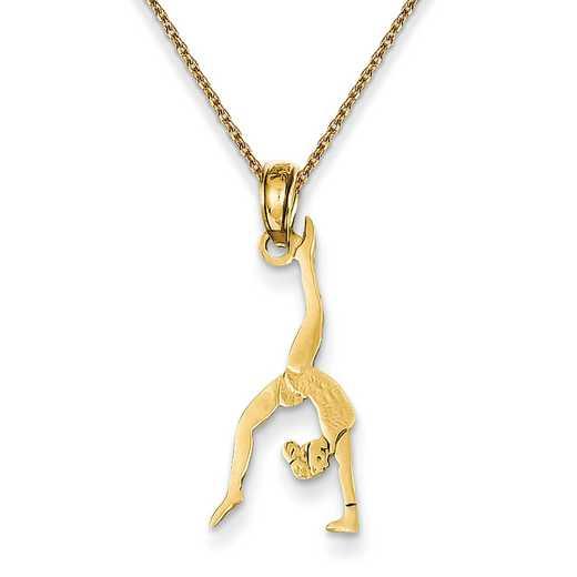 D1449PEN136-18: 14k YG Solid Polished Gymnast Pendant