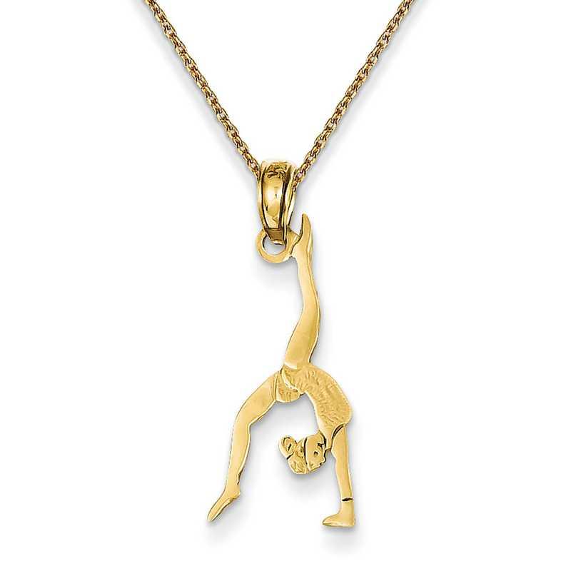 14k Yellow Gold Polished Gymnast Pendant
