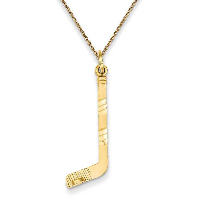 C1232/PEN136-18: 14k YG Hockey Stick Charm