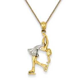 Made in USA 14k Yellow Gold ICE SKATER  Pendant Charm