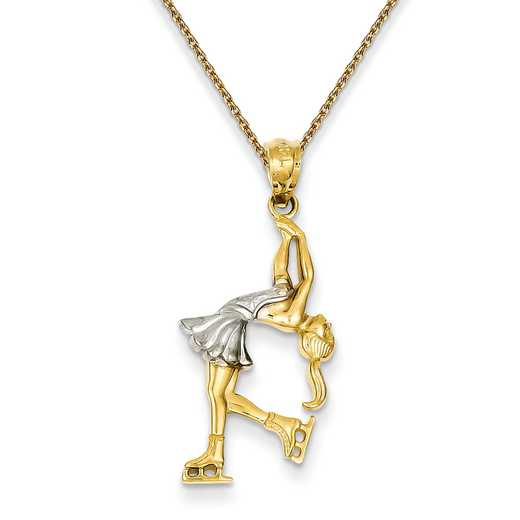 C4505PEN136-18: 14k YG Rhodium Plated Ice Skater Pendant