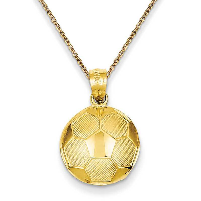 C3579PEN136-18: 14k YG Soccer Ball Pendant