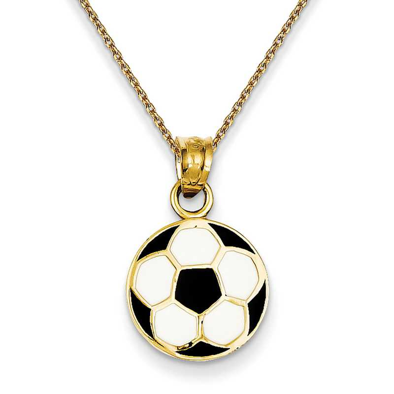 14K Yellow Gold Soccer Ball Charm Pendant For Necklace or Chain