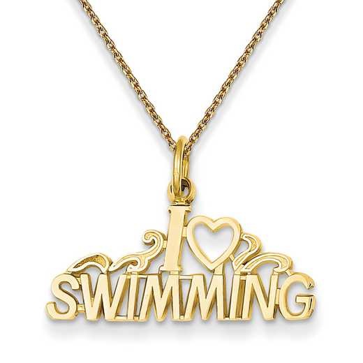 C594/PEN136-18: 14k YG I Love Swimming Charm