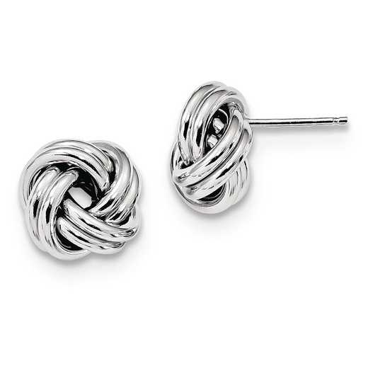 QE13413: 925 Rhodium Plated Pol Love Knot Post Earrings