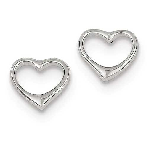 QE8727: 925 Rhodium Plated Open Heart Post Earrings