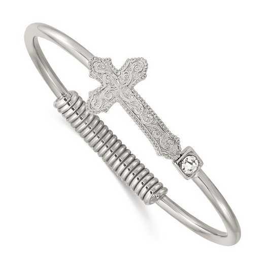 BF3206: Silver-Tone Cross Cubic Zirconia Bangle Bracelet
