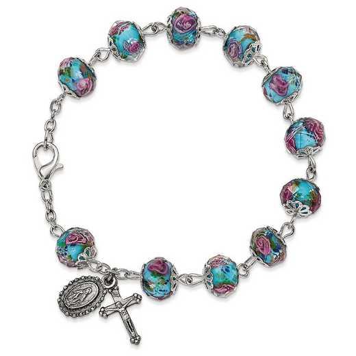 GM13493: Silver-Tone Handpainted Aqua Beads Rosary Bracelet