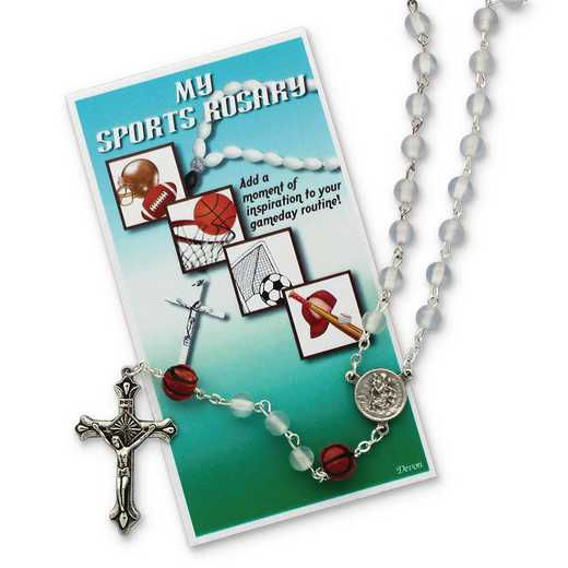 GM19738: Girls White Basketball Sports Rosary